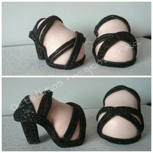 Zapatos sandalias tacon para fofuchas en goma eva #foamy | Ideas ...