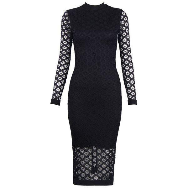 Long Sleeve Crochet Midi Bandage Dress Black ($135) ❤ liked on Polyvore featuring dresses, long sleeve dress, bandage midi dress, bandage dress, long sleeve mid calf dresses and long sleeve bandage dress