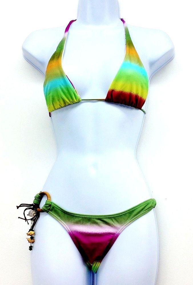 962dcad99f CIA. MARITIMA Size Large Rainbow Bikini 2 Piece Wood Floral Bling  Reversible Top #CiaMaritima #Bikini