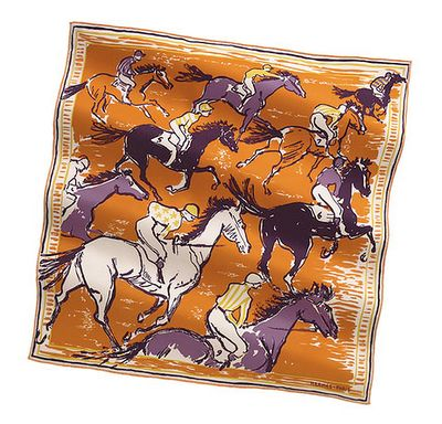 "vintage-style Hermes silk twill scarf called ""Finish""- part of the Scarves 70 line from Hermes. Hand-rolled silk, 28"" x 28"""