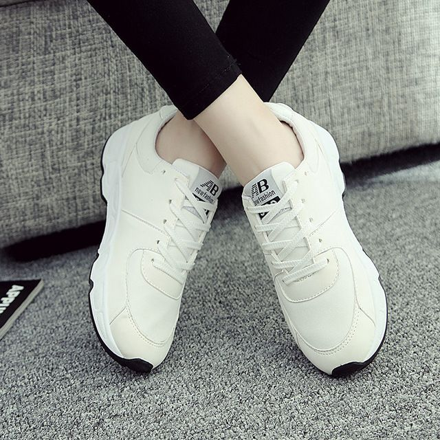 Lightweight White Black Pink Lace Up  Ladies Leisure Shoes