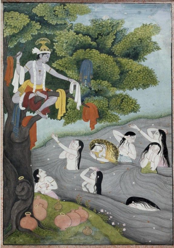 Krishna Taunting the Gopi - Always the prankster, Krishna spies the gopi (cowgirls) of Vraja bathing naked in the Yamuna River. He positions himself with all of their clothes high in a tree. They beg him to return their garments, but he insists that they each come out of the water to receive their clothing.