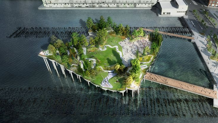 I can't wait to go here! Barry Diller, the billionaire chairman of IAC/InterActiveCorp, has pledged $130 million toward a park and performance space that would sit atop a platform off the Hudson River shoreline.