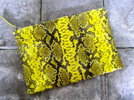 Oversize python leather pouch / Zipper pouch / by Vbagscorner