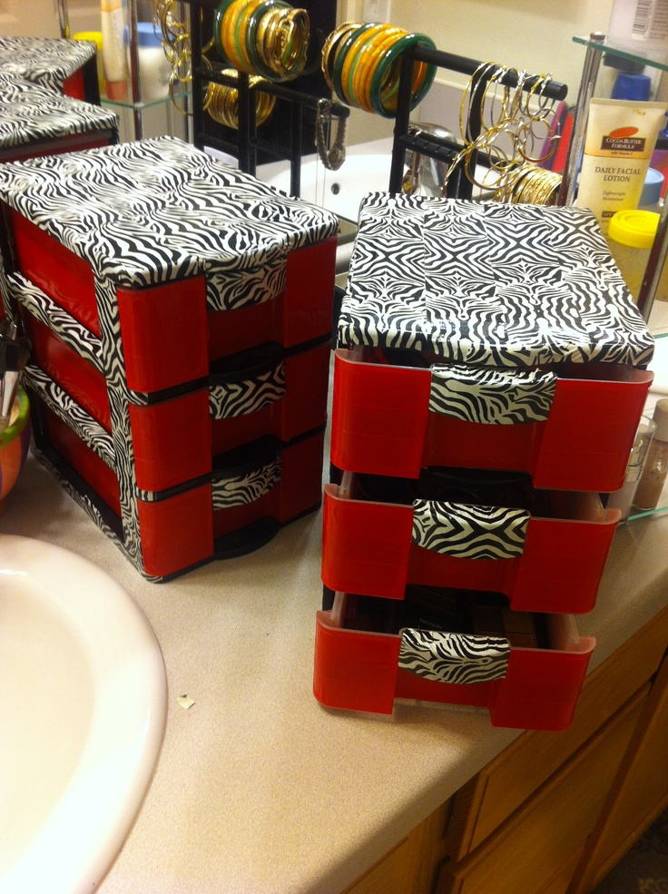 Make Up Storage Using Small Plastic Bins And Duct Tape