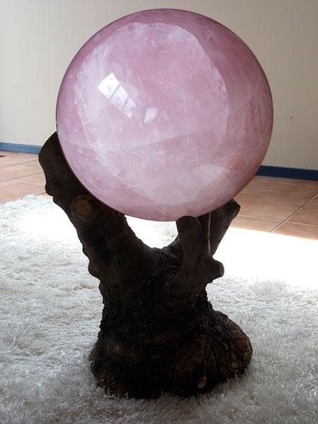 26kg Rose Quartz sphere on an olive tree stump. Powerful energy piece made for Eva Mason, New Zealand.
