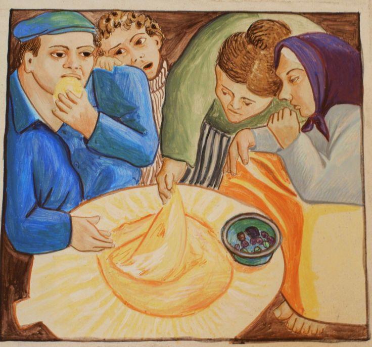 """""""Su contu de su pane"""" - Il racconto del pane. Dettaglio dell'affresco all'interno della chiesa di San Francesco, Onanì - NU Opera di Diego Asproni"""
