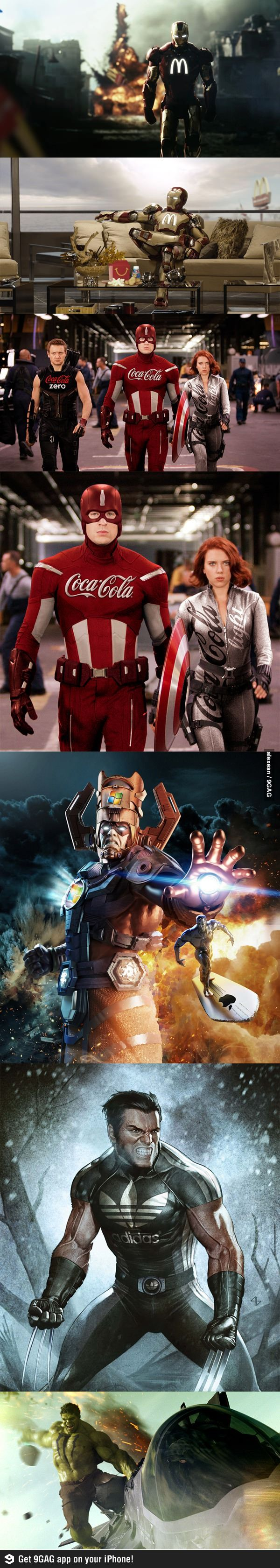 Sponsored heroes. Or, how the Avengers would be if they put a Tiger and Bunny spin on it.