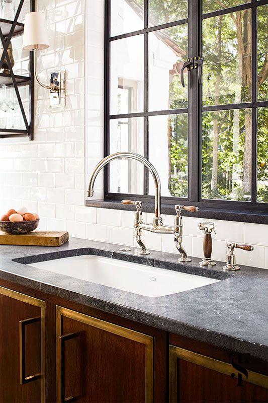 Kitchen Steel Frame Windows, Wood Handle Faucet, Wood Cabinets | Summer Thornton Design