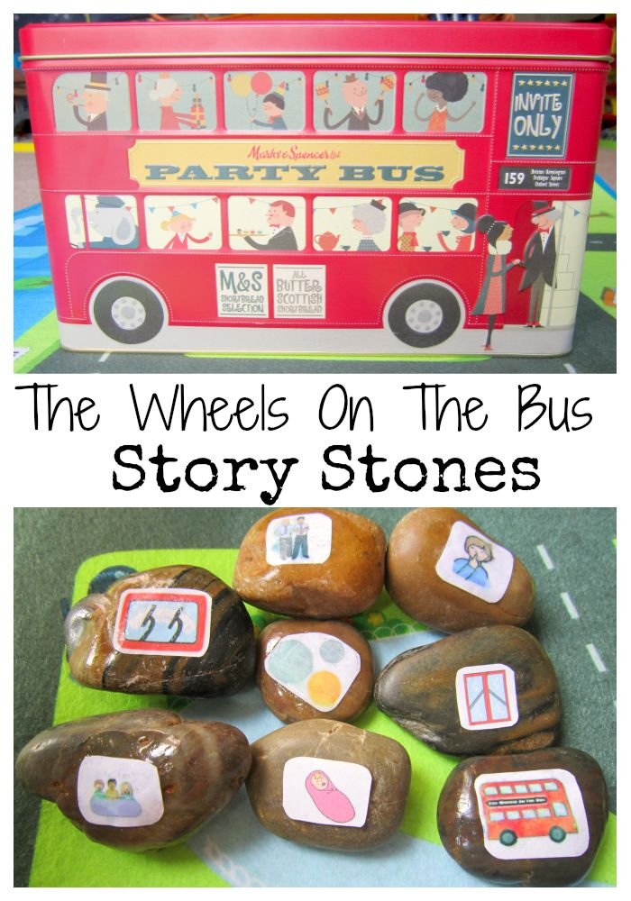 Act out the Wheels On The Bus Nursery Rhyme with these Story Stones. Easy to make using Twinkl resources | http://adventuresofadam.co.uk/wheels-on-the-bus-story-stones/