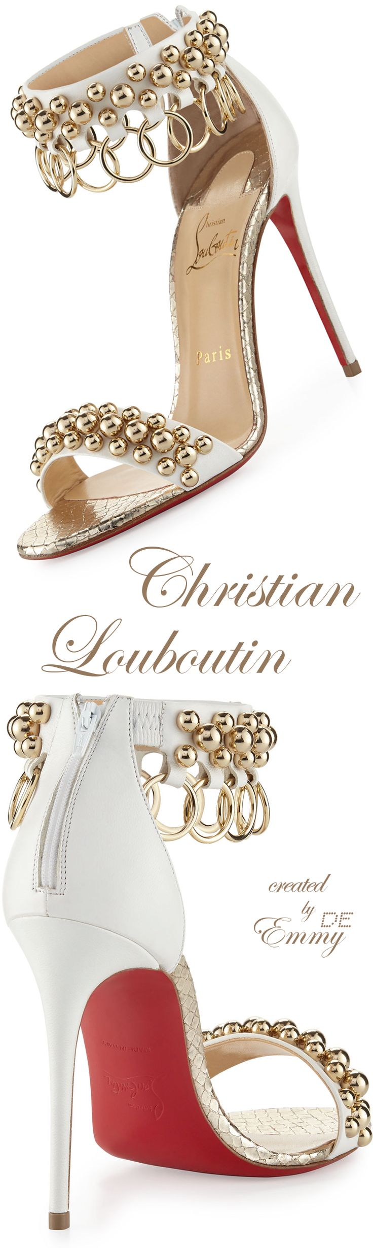 Emmy DE * Christian Louboutin 'Gypsandal' Ring-Trim Red Sole Sandal