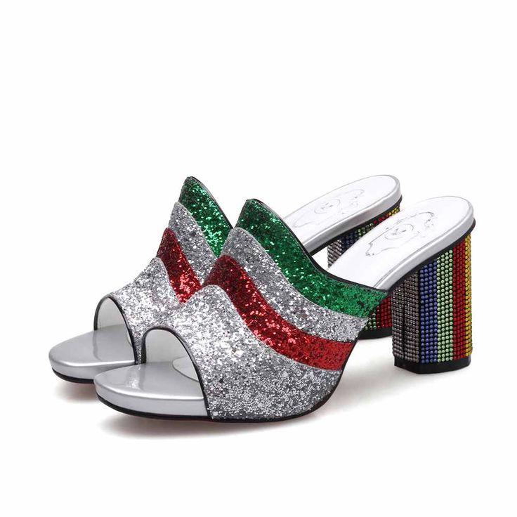 HooH Femmes Sandales Peep Toe Paillettes Bling Rhinestones Slingback Kitten Wedge Sandales Or 43 EU UkbGJmtn