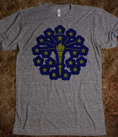 This is a great T-Shirt for many reasons: the Indiana flag, the comfortable fabric, simple design...and did we mention the Indiana flag?