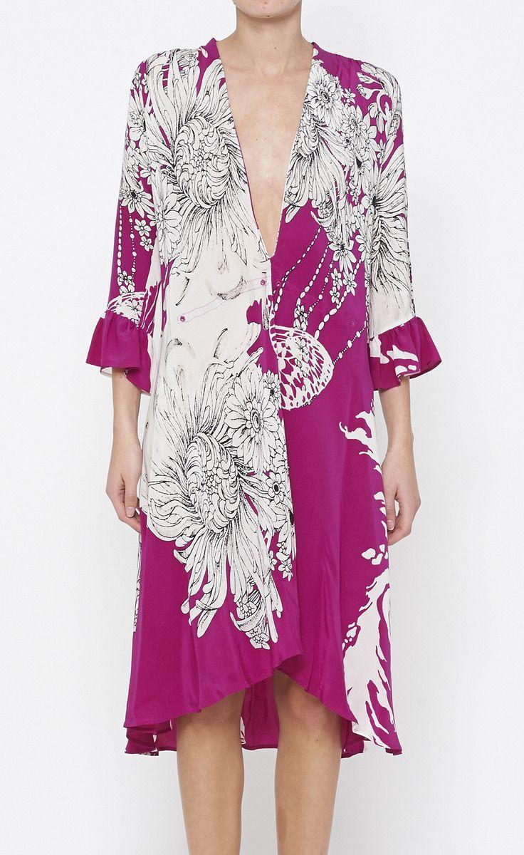Roberto Cavalli Purple, White And Black Dress