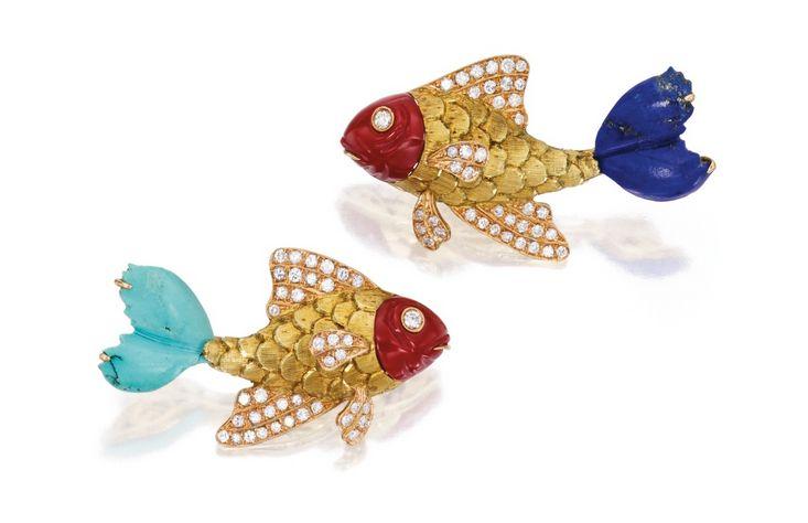 Pair of 18 Karat Gold, Colored Stone and Diamond Brooches, Nardi