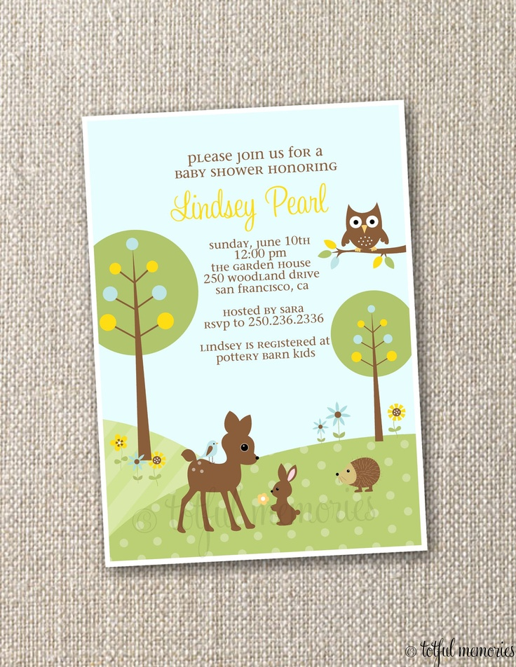 invitation woodland baby shower by totfulmemories woodland