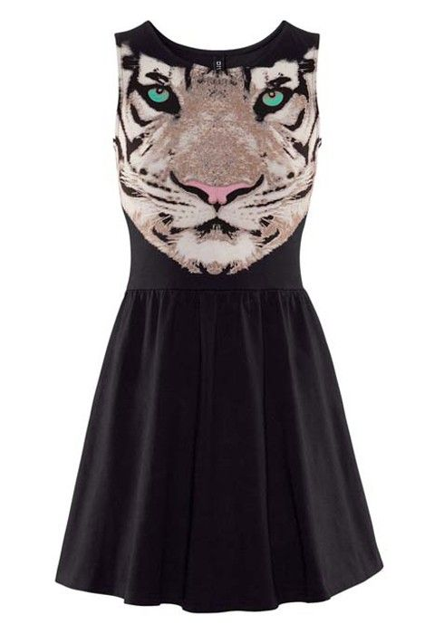 black tiger print dress
