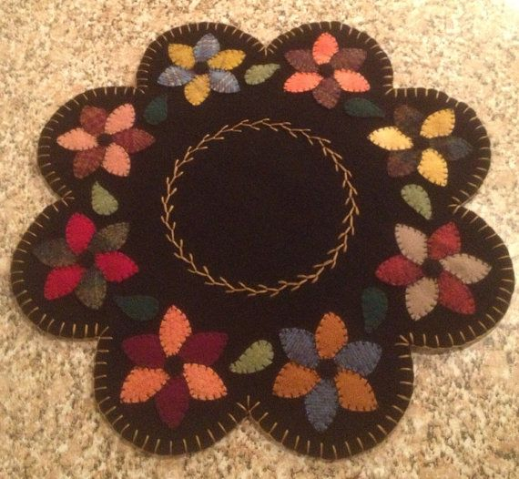 Primitive Wool Penny Rugs Pinwheel flowers by MaggysPennies, $60.00