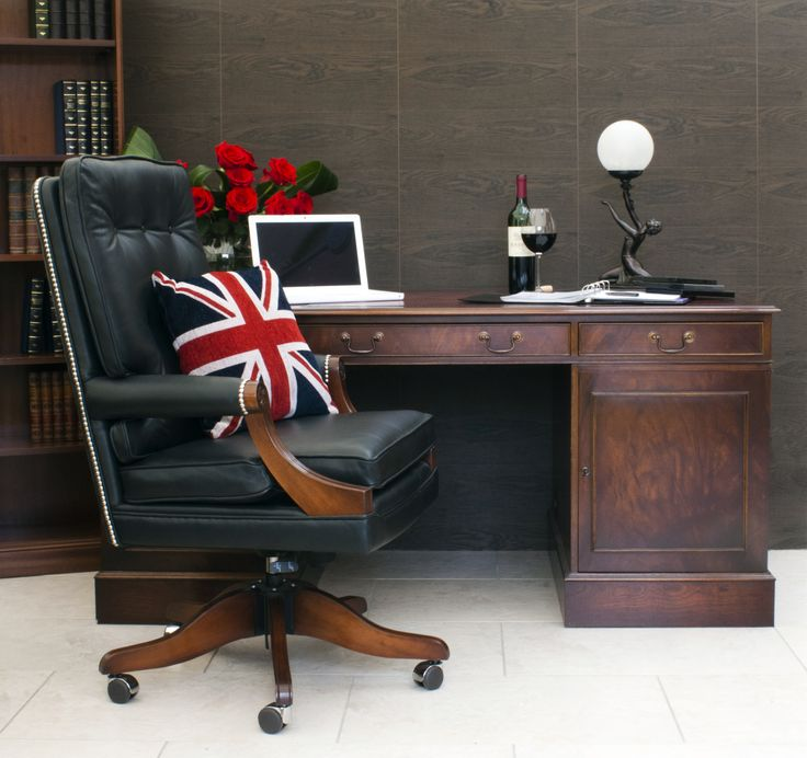 Bevan Funnell Classic Style Pedestal Desk and fy Swivel Chair