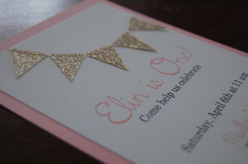pink and gold glitter bunting invitation by Penelope & LaLa on Etsy (penelopeandlala.com) Party by hauteapplepie.com