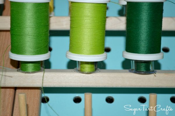 Store Bobbins on a thread rack under their matching spools.