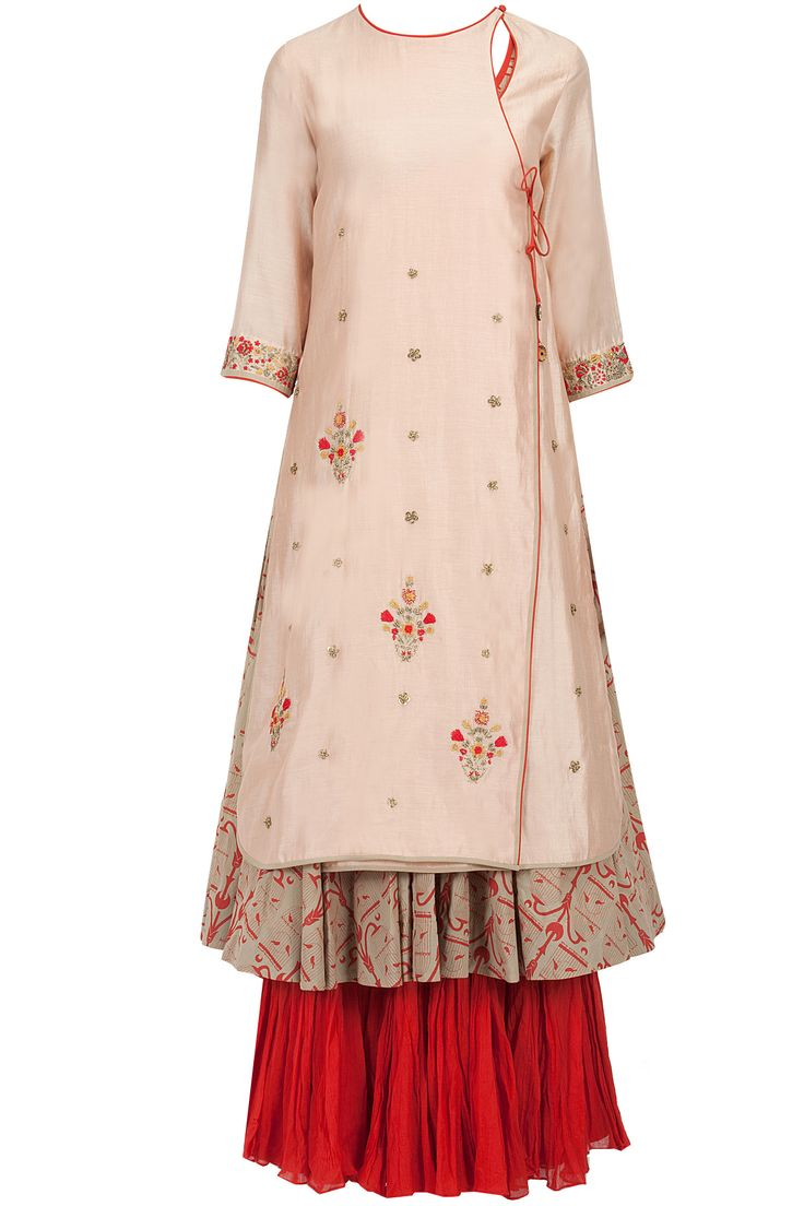 Blush pink and red embroidered jacket anarkali set available only at Pernia's Pop-Up Shop.