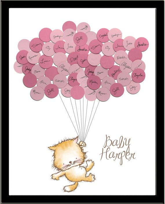 Kitten Cat Theme Baby Shower Guestbook Print  by SayAnythingDesign