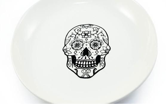 Day of the Dead Halloween Inspiration in Cosmopolitan Featuring our Sugar Skull Salad Bowl