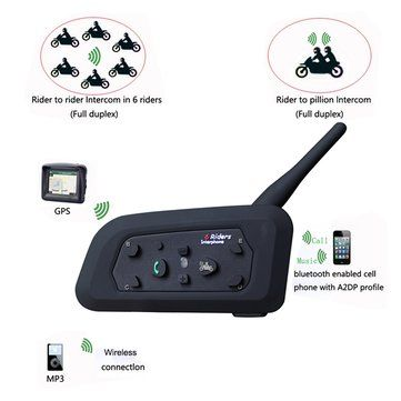 2pcs 1000M Motorcycle Helmet Intercom Headset with Bluetooth Function Sale - Banggood.com