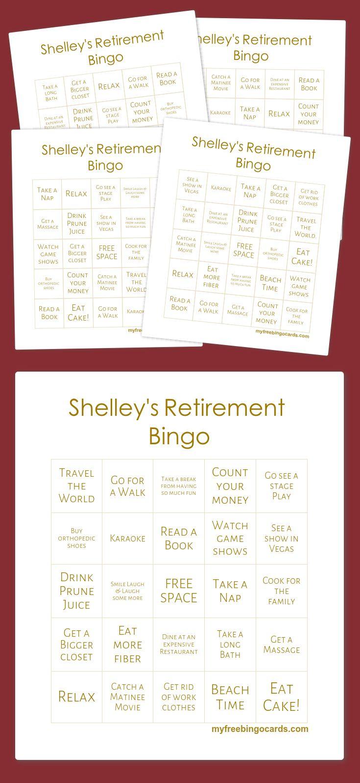 Shelley's Retirement Bingo fun games Bingo cards