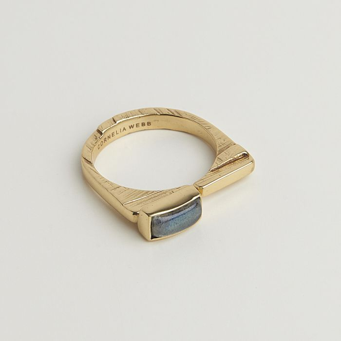 Cornelia Webb - Slized square ring small - labradorite