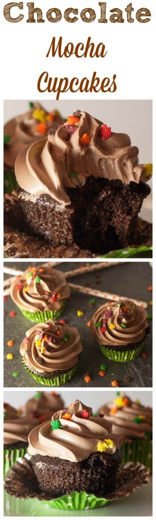 Chocolate cupcakes with mocha frosting- moist rich chocolate cupcakes with an espresso chocolate buttercream!