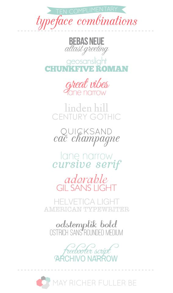 10 lovely complimentary typeface combinations graphic design pinterest fonts typography