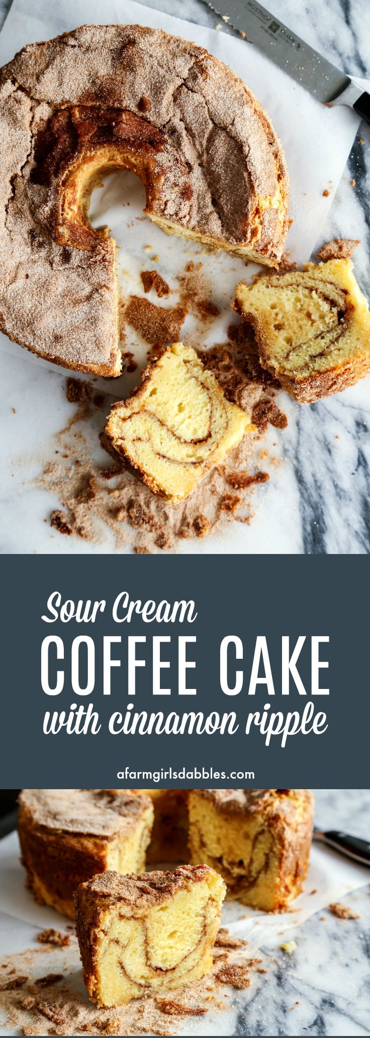 Sour Cream Coffee Cake with Cinnamon Ripple from afarmgirlsdabbles.com - The best coffee cakes are made with sour cream, and with a good amount of cinnamon sugar. You will not be disappointed with this easy recipe!
