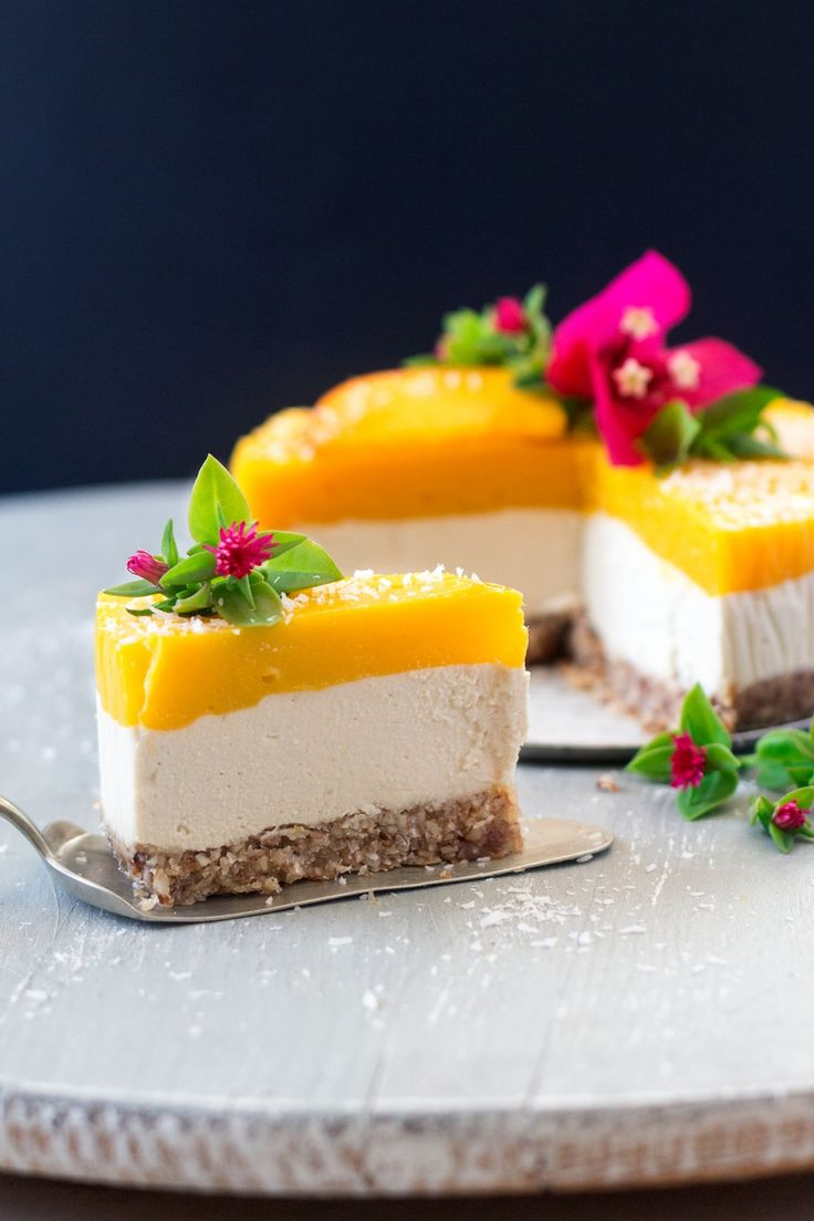 This vegan mango ginger cheesecake makes an indulgent summer dessert. It's easy to make, gluten-free, OIL-FREE and sugar free too!
