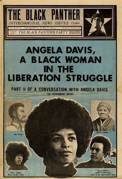 Angela Davis, Black Panther Party newspaper. Design & illustration by Emory Douglas.