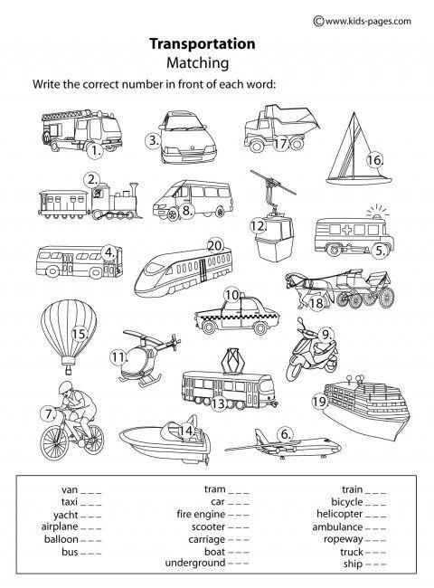 Transportation B&W worksheets