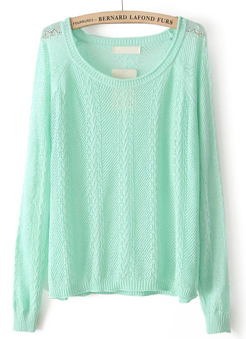 Green Long Sleeve Hollow Pullover Sweater US$24.80
