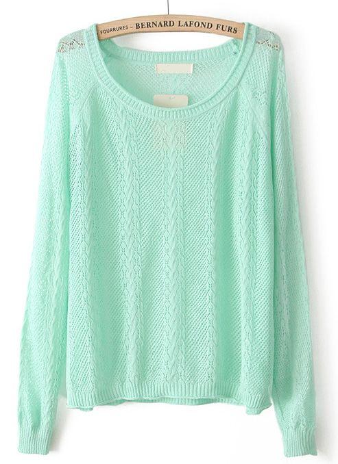 Green Long Sleeve Hollow Pullover Sweater - Sheinside.com