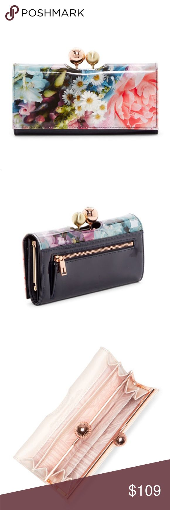"""MWT Ted Baker London Floral Print Leather Wallet A gleaming kiss-clasp set with crystals highlights a patent-leather matinee wallet in a vivacious floral pattern--so pretty, you'll want to carry it as a chic clutch, too.  - Foldover top   - Kiss-lock clasp closure  - Exterior features zip pocket and floral print  - Snap-flap exterior compartment with interior currency and slip pockets; 11 card slots; ID window  - Approx. 3.5"""" H x 7.5"""" W x 1"""" D.                                     Leather…"""