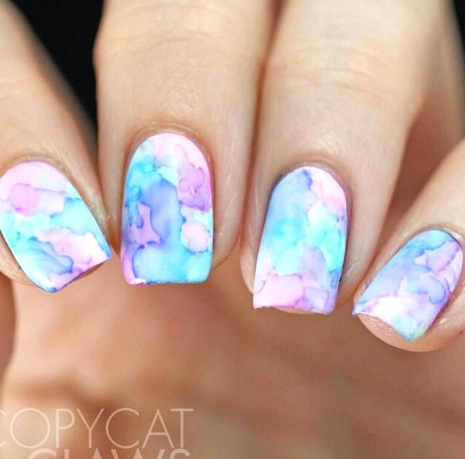 Marble Blue Pink Purple In 2020 Sharpie Nail Art Sharpie Nails Pretty Acrylic Nails