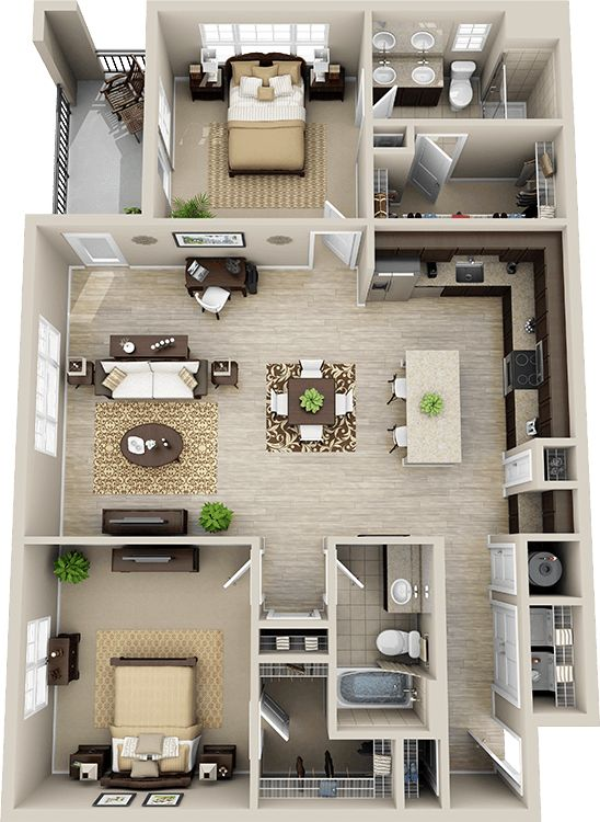 3d floor plan apartment google search plans for 3 bathroom apartments