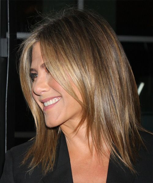 Jennifer Aniston Medium Straight Hairstyle. Click to try on this hairstyle and view hair info and styling steps!