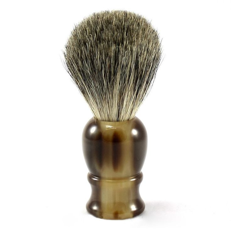 Classic Pure Grey Badger Shaving Brush, Faux Horn Handle