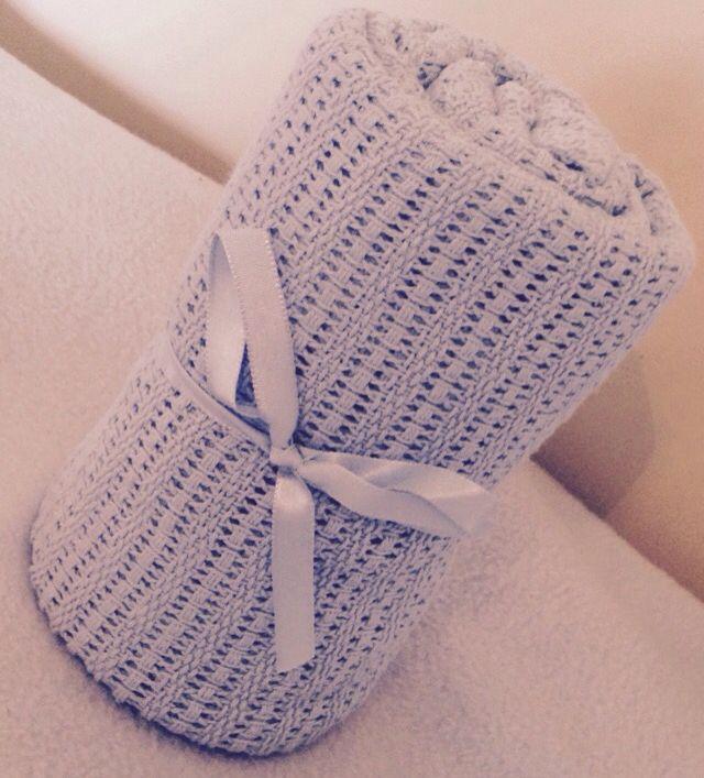 Baby Blue Celluar Cotton Blanket ONLY £6.99 Buy today on www.littlelovesgiftbaskets.bigcartel.com