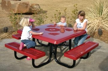 Outdoor commercial picnic tables great for your younger children! Add to any play area or child care center