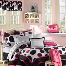 more beddingPink Polka Dots, Comforter Sets, Hot Pink, Bedrooms Decor, Beds Sets, Bags, Bedrooms Ideas, Teen Girls, Comforters Sets