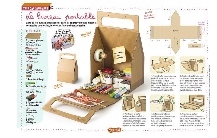 Le bureau portable à transporter partout: bricolage rigolo pour les enfants. Du carton, des ciseaux, du gros scotch, des boites d'allumettes et le tour est joué! Pour les enfants de 7 à 11 ans. (Extrait du magazine Astrapi n°799)