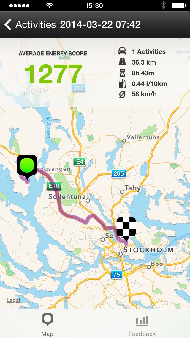 Enerfy Driving map for activities in app. EnerfyDriving. #enerfy #enerfydriving. http://www.enerfydriving.com