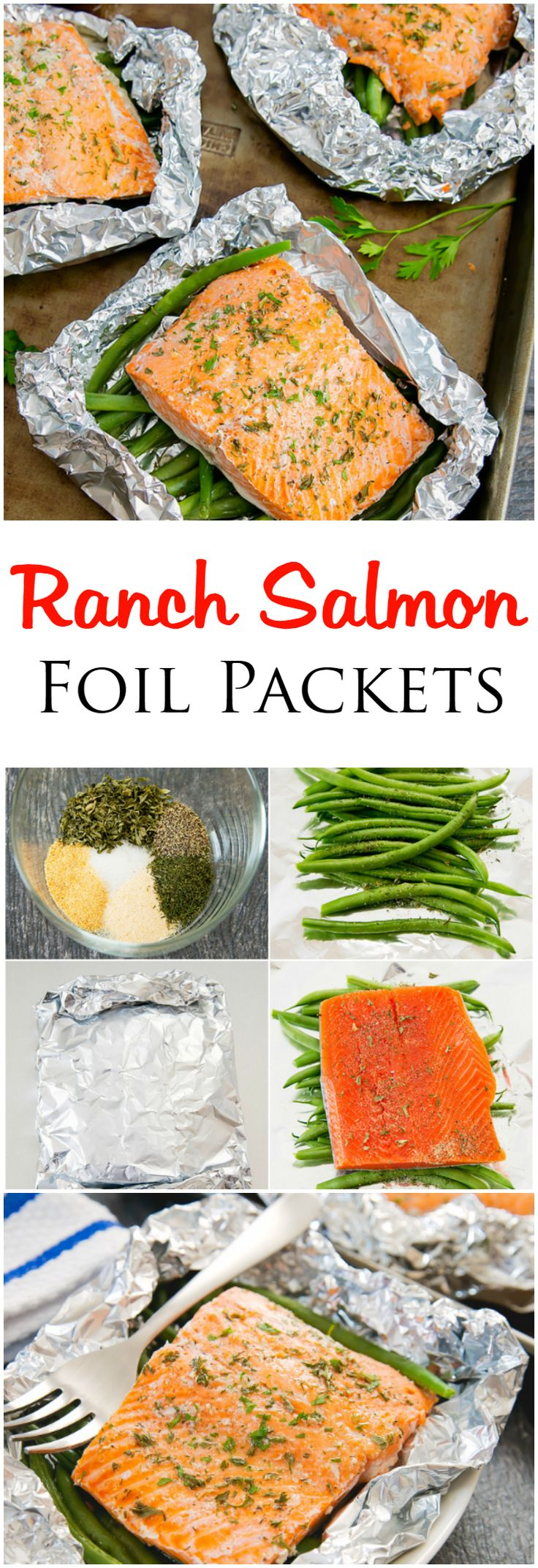 Ranch Salmon Foil Packets. Homemade ranch seasoning is sprinkled over fish and vegetables, for an easy meal with very little clean-up!